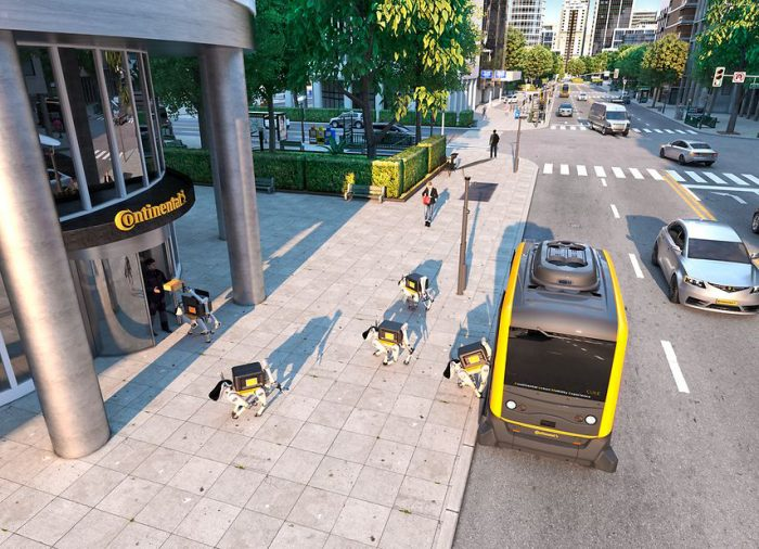 """Vollautomatisierte Zustellung: Continental plant den Einsatz von autonomen Transportfahrzeugen und """"Robo-Dogs"""" für die letzten Meile. (Bildquelle: Continental)"""